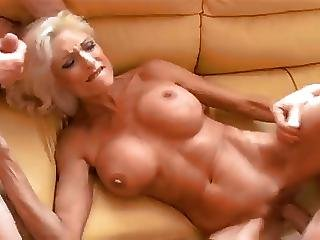 Huge Fake Tits Milf Fucked By Two Guys