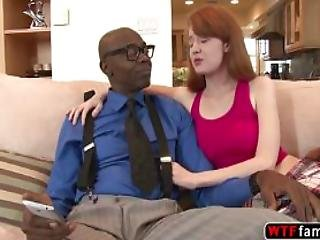 White Sexy Babe Abby Rains Loves To Tasle Her Stepdad Black Cock