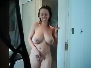 amateur, dikke tiet, masturbatie, milf, moeder