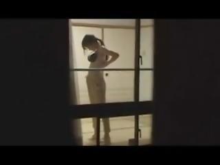 japanare, modell, offentligt, fönstertittare, webcam