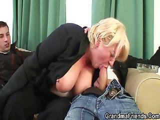 Boozed Blonde Granma Double Fucked