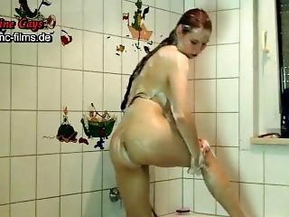 Nadine Cays In The Shower - Soap For Voyeurs - Nadine Cays Shaved Teen Puss