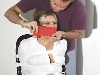 stort bryst, blond, bondage, muff