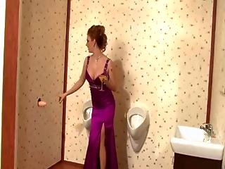 Glamour Chick Gets Bukkake Dirty In Public Toilet At Formal Event