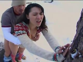 Mixed Asian Lielani Keeps Warm Outdoors With Her Boyfriend S Cock