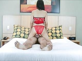Couple Sex With Chinese Lady In A Sexy Red Dress.