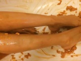 Brunette In White G-string Body Stocking - Sliding Feet In The Bath ...
