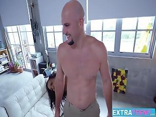 Gorgeous Ebony Teen Demi Sutra Working On Big White Cock