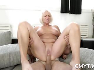 Blonde Gilf Gets Her Old Cunt Smashed