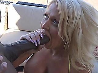 Busty Cougar Endures Black Wood In Her Shaved Pussy And Ass