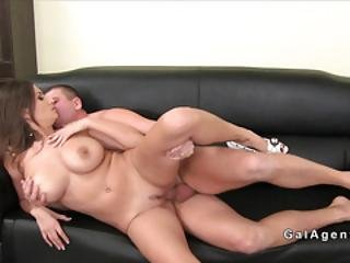 Huge Boobs Female Agent Banged In Couch