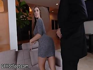 Busty Babe Lena Paul Gets Cummy Feet After Fuck