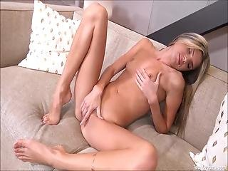 Sexy Amateur Teen Gina Gerson Poses On Her Couch And She Play With Her Tiny Pussy Cunt With Sex Toy