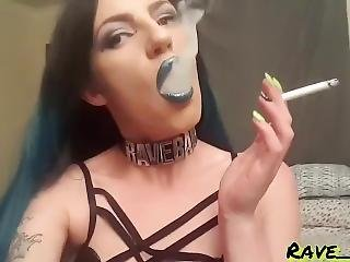 Sultry Smoking Goddess : Seductively Smoking In Blue Lipstick On My Bed