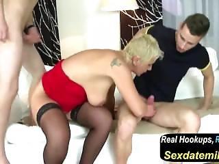 Kinky Mother Fucks Two Cocky Teen Boys