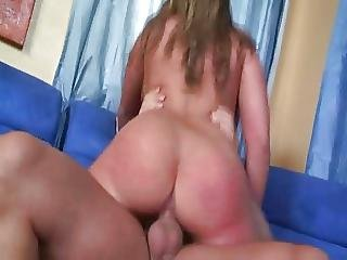 Voluptuous Gal Fucks On A Blue Coach