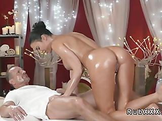 Huge Tits Babe Sucks Masseurs Cock