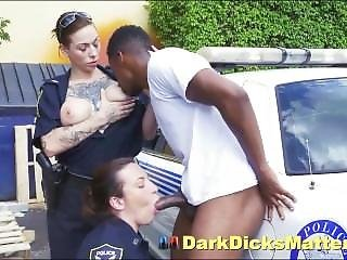 Speeding Perps Huge Ebony Dick Swallowed By Police Women