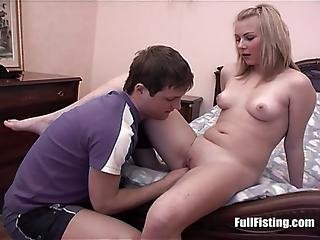 Pretty Blonde Teen Wife Receives Full Pussy Fisting