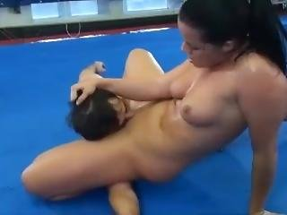 Muscle Girl Detroys Skinny Guy And Has Him Lick Her