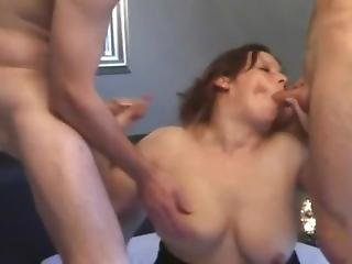 Horny Mom Fucked Up The Ass By 2 Cocks