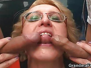 Mature In Glasses Outdoor Threesome