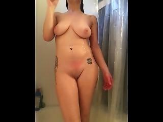 kunst, chick, dikke tiet, brunette, masturbatie, douche, plagen