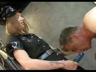 Sexy Mistress In Police Uniform Fucks And Domina Guy